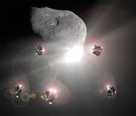 Asteroid being deflected by mirror-ships
