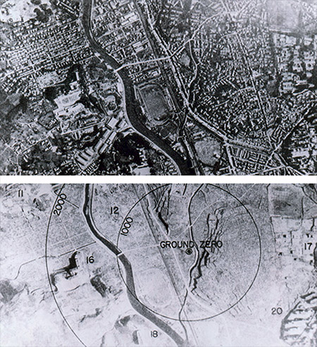 Nagasaki - Before and After the Nuclear Explosion photo