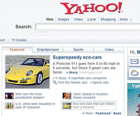 Yahoo Frontpage image