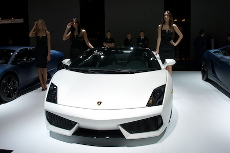 Lamborghinis with models photo