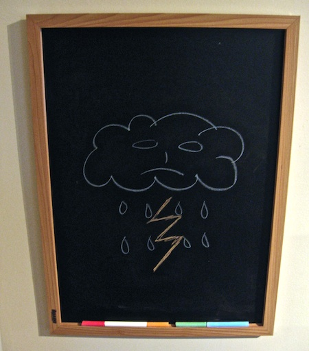 Chalkboard with rainy cloud photo